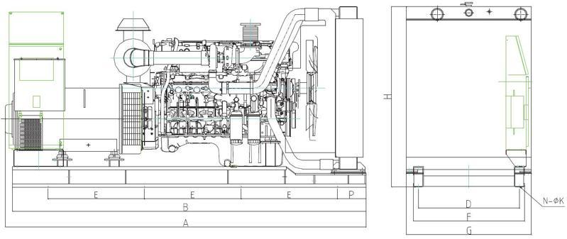 上柴柴油发电机组外形安装图